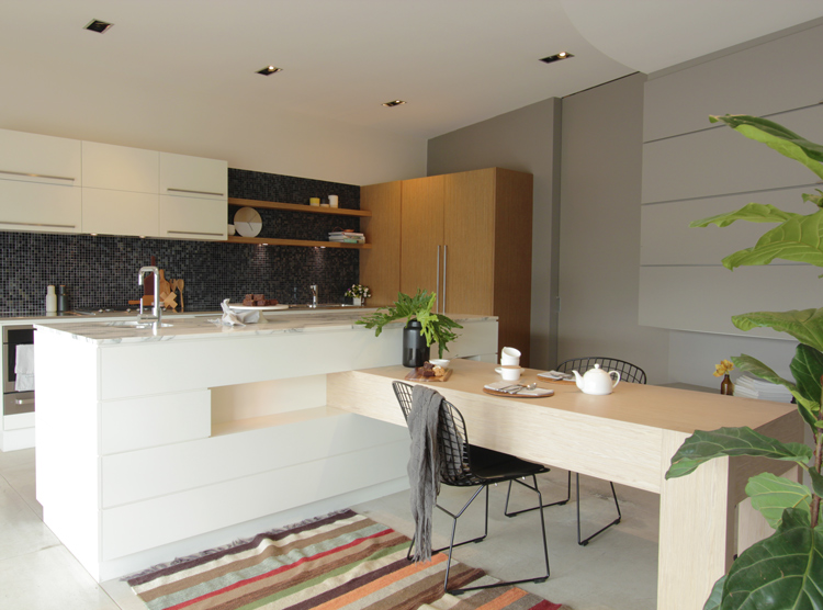 Brisbane kitchen showroom, integrated kitchen dining table, DbyD